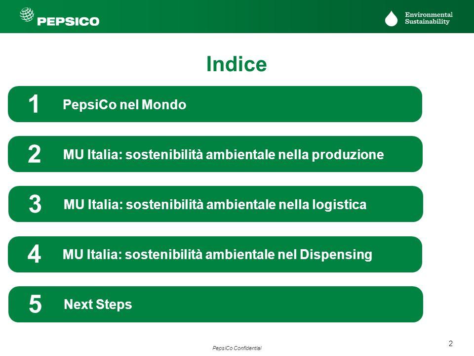 2 PepsiCo Confidential PepsiCo nel Mondo 1 MU Italia: sostenibilità ambientale nella produzione 2 MU Italia: sostenibilità ambientale nella logistica