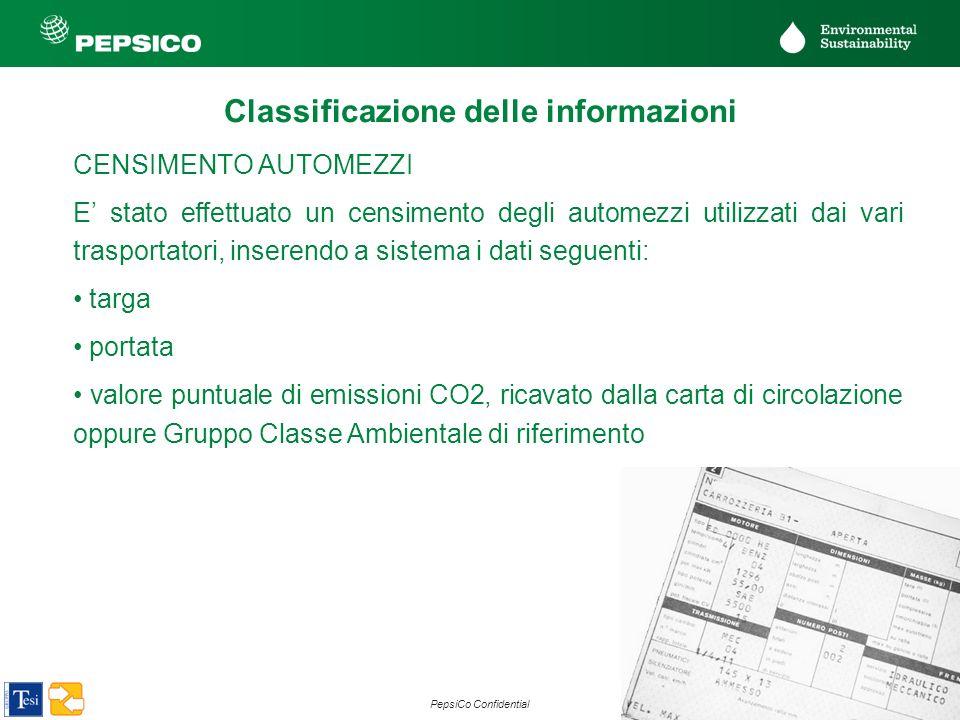 22 PepsiCo Confidential CENSIMENTO AUTOMEZZI E stato effettuato un censimento degli automezzi utilizzati dai vari trasportatori, inserendo a sistema i