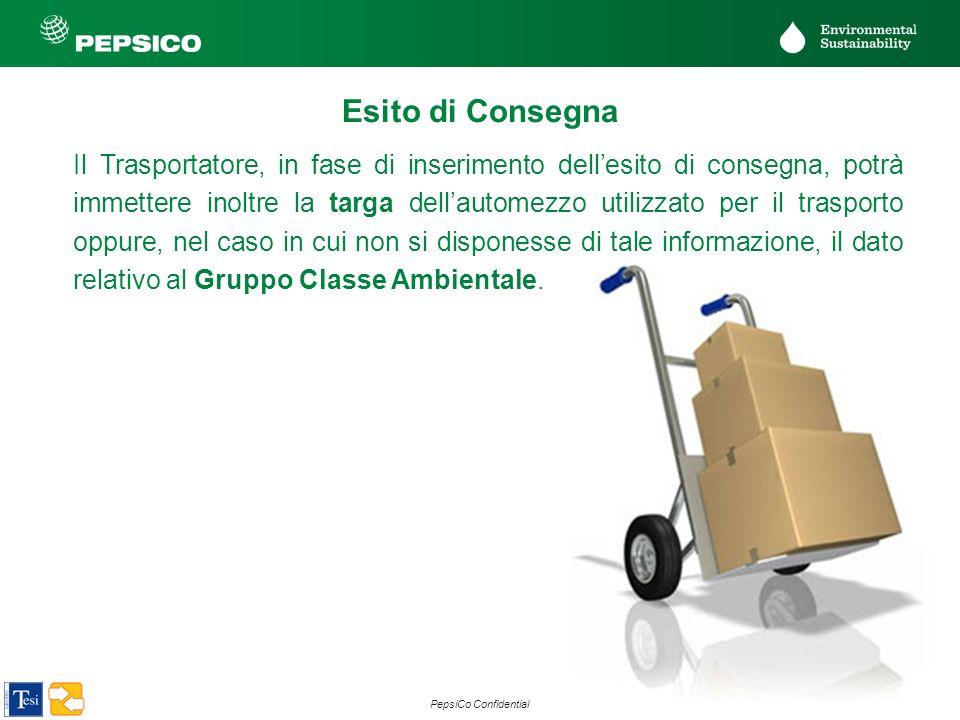 24 PepsiCo Confidential Esito di Consegna Il Trasportatore, in fase di inserimento dellesito di consegna, potrà immettere inoltre la targa dellautomez