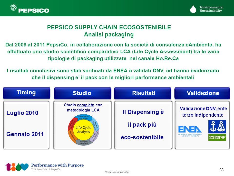 33 PepsiCo Confidential Dal 2009 al 2011 PepsiCo, in collaborazione con la società di consulenza eAmbiente, ha effettuato uno studio scientifico compa