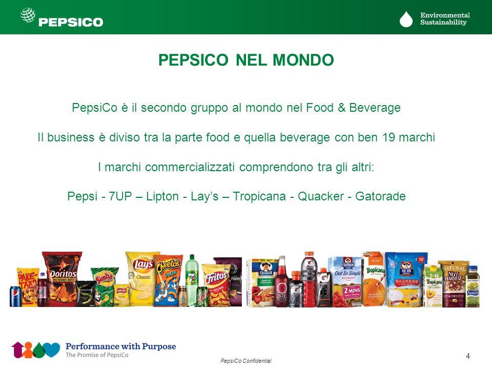 4 PepsiCo Confidential PEPSICO NEL MONDO PepsiCo è il secondo gruppo al mondo nel Food & Beverage Il business è diviso tra la parte food e quella beve