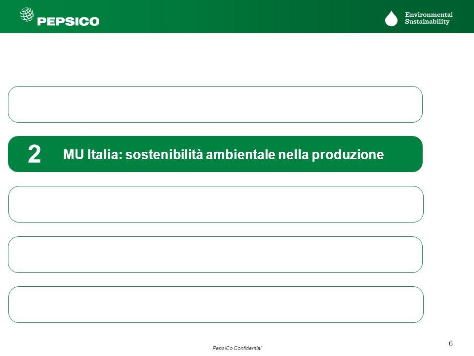 7 PepsiCo Confidential PEPSICO SUPPLY CHAIN ECOSOSTENIBILE Come la produzione può contribuire ad aiutare ambiente PepsiCo Europa ha adottato dal 2006 un programma di riduzione dellimpatto ambientale di tutti i siti produttivi europei con obiettivi ben precisi da raggiungere in un arco temporale di 10 anni (2006-2015) articolato in 3 fasi: Fase 1 Monitoraggio dei consumi dei tre principali indicatori ambientali: Acqua Elettricità Gas metano Fase 2 Implementazione programma ReCon (Resources Conservation): pianificazione di interventi per ridurre il consumo dei tre indicatori ambientali intervenendo in particolare su: processo produttivo Impianti Formazione del personale operativo Fase 3 Standardizzazione e validazione del processo applicando ed ottenendo la certificazione ambientale ISO 14001:2004 sia del sito produttivo di Scorzè che dellHQ di Milano
