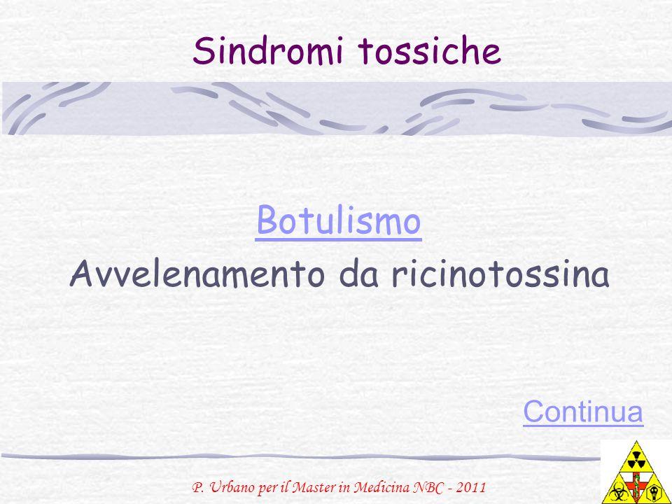 P. Urbano per il Master in Medicina NBC - 2011 Sindromi tossiche Botulismo Avvelenamento da ricinotossina Continua