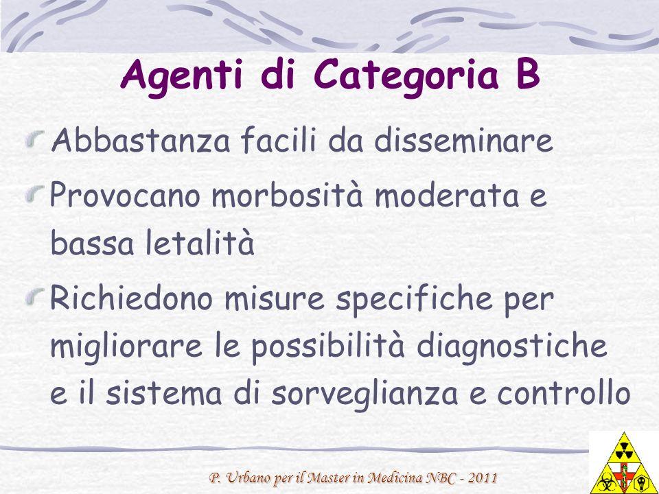 P. Urbano per il Master in Medicina NBC - 2011 Agenti di Categoria B Abbastanza facili da disseminare Provocano morbosità moderata e bassa letalità Ri