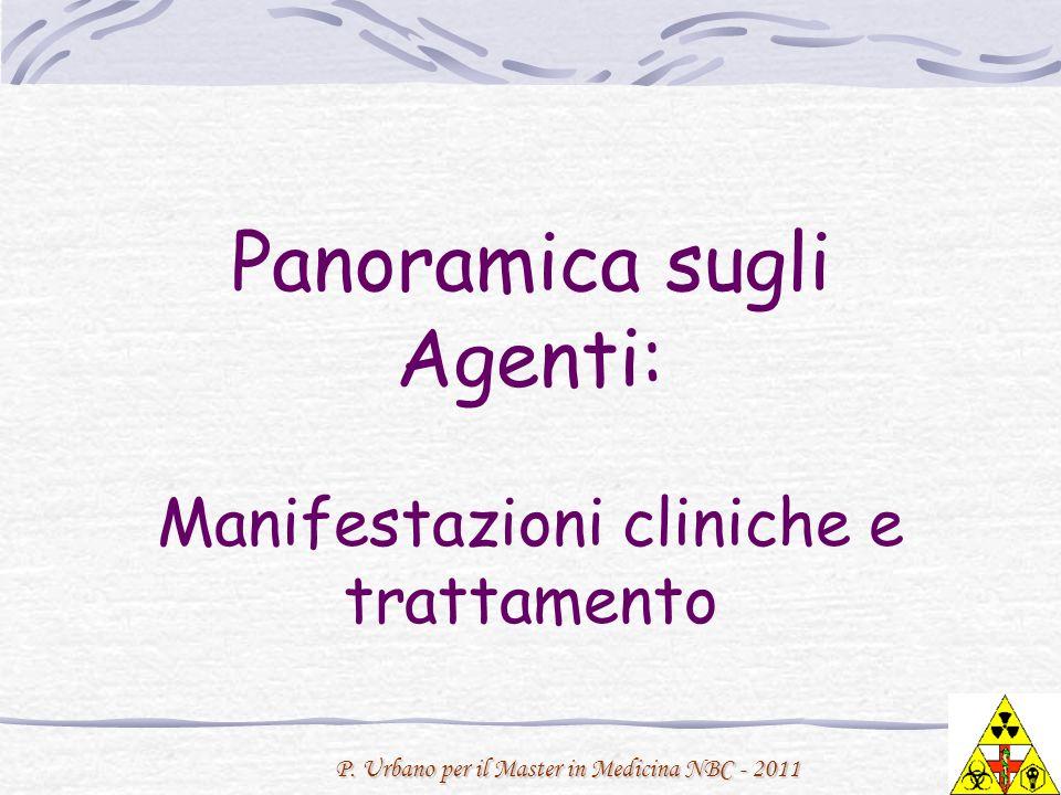 P. Urbano per il Master in Medicina NBC - 2011 Panoramica sugli Agenti: Manifestazioni cliniche e trattamento