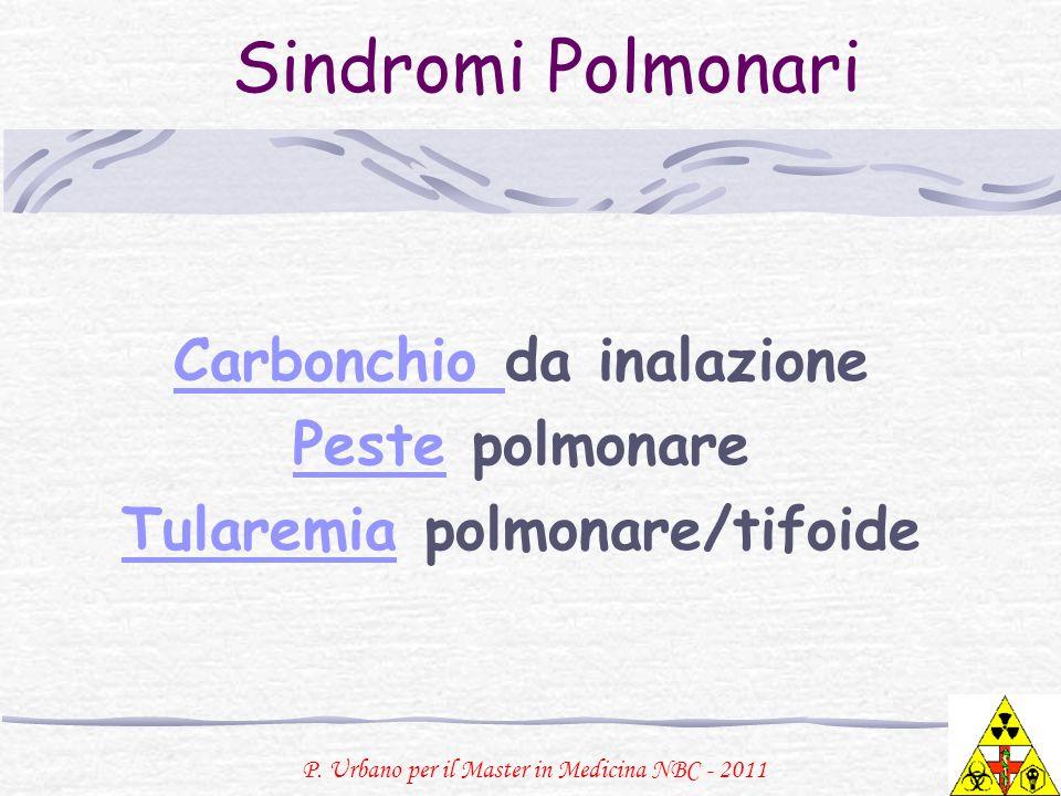 P. Urbano per il Master in Medicina NBC - 2011 Sindromi Polmonari Carbonchio Carbonchio da inalazione PestePeste polmonare TularemiaTularemia polmonar