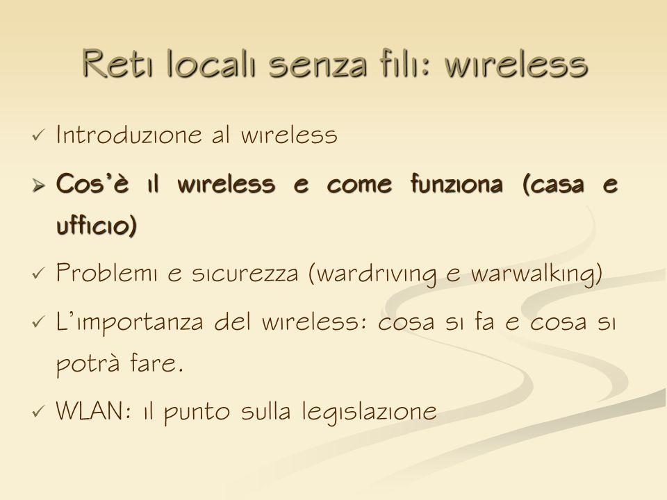 Reti locali senza fili: wireless Introduzione al wireless Cosè il wireless e come funziona (casa e ufficio) Cosè il wireless e come funziona (casa e u