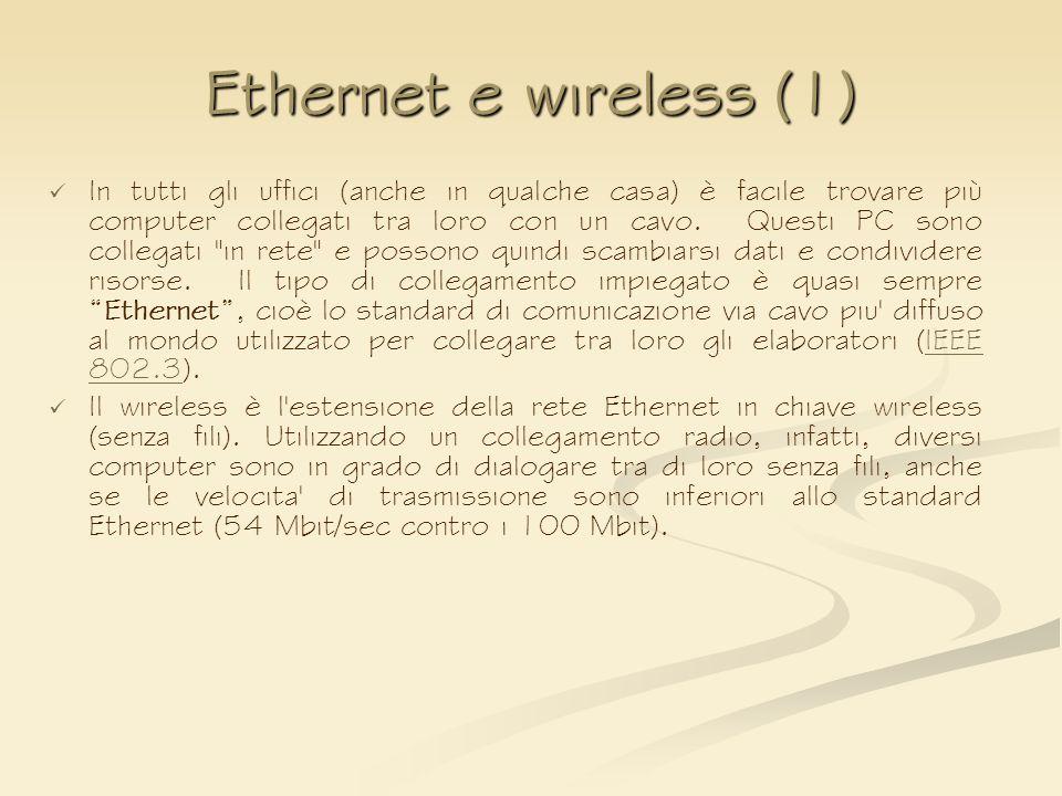 Ethernet e wireless (1) In tutti gli uffici (anche in qualche casa) è facile trovare più computer collegati tra loro con un cavo. Questi PC sono colle