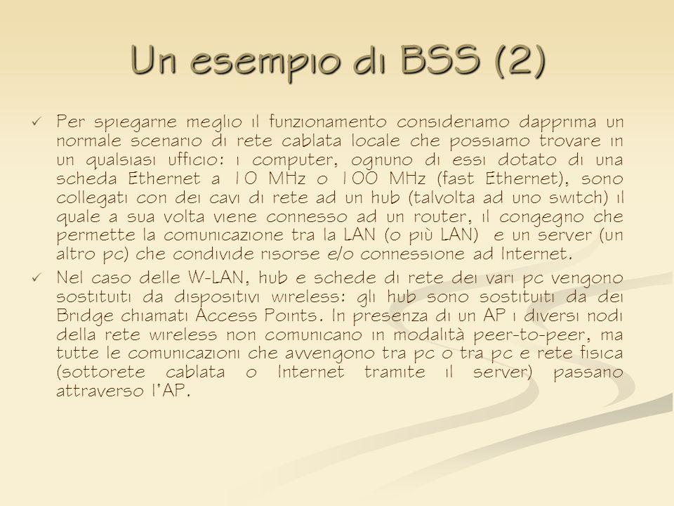 Un esempio di BSS (2) Per spiegarne meglio il funzionamento consideriamo dapprima un normale scenario di rete cablata locale che possiamo trovare in u