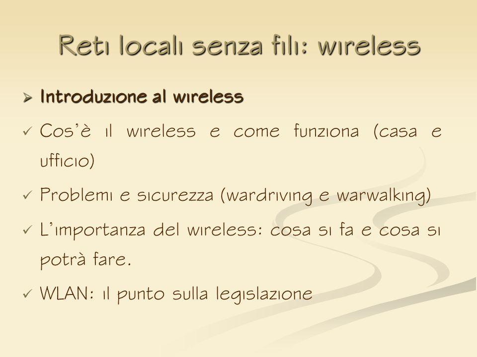 Reti locali senza fili: wireless Introduzione al wireless Introduzione al wireless Cosè il wireless e come funziona (casa e ufficio) Problemi e sicure