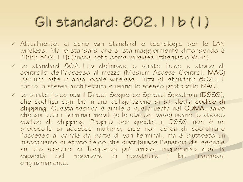 Gli standard: 802.11b (1) Attualmente, ci sono vari standard e tecnologie per le LAN wireless. Ma lo standard che si sta maggiormente diffondendo è lI