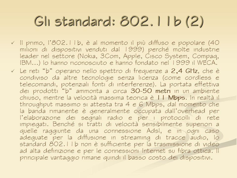 Gli standard: 802.11b (2) Il primo, l802.11b, è al momento il più diffuso e popolare (40 milioni di dispositivi venduti dal 1999) perché molte industr