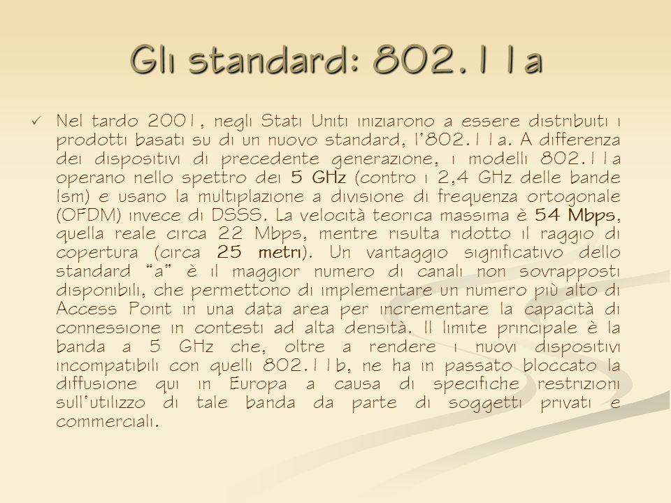 Gli standard: 802.11a Nel tardo 2001, negli Stati Uniti iniziarono a essere distribuiti i prodotti basati su di un nuovo standard, l802.11a. A differe