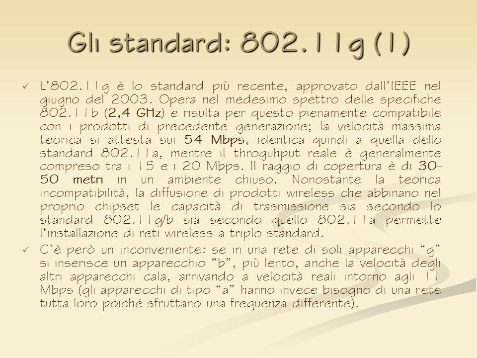 Gli standard: 802.11g (1) L802.11g è lo standard più recente, approvato dallIEEE nel giugno del 2003. Opera nel medesimo spettro delle specifiche 802.