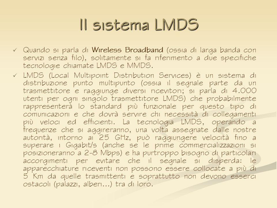 Il sistema LMDS Quando si parla di Wireless Broadband (ossia di larga banda con servizi senza filo), solitamente si fa riferimento a due specifiche te