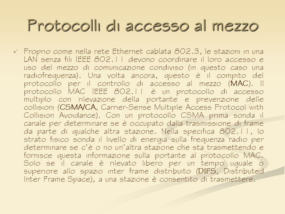 Protocolli di accesso al mezzo Proprio come nella rete Ethernet cablata 802.3, le stazioni in una LAN senza fili IEEE 802.11 devono coordinare il loro