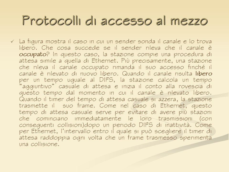 Protocolli di accesso al mezzo La figura mostra il caso in cui un sender sonda il canale e lo trova libero. Che cosa succede se il sender rileva che i