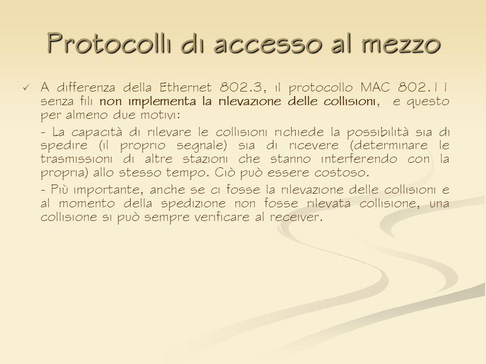 Protocolli di accesso al mezzo A differenza della Ethernet 802.3, il protocollo MAC 802.11 senza fili non implementa la rilevazione delle collisioni,