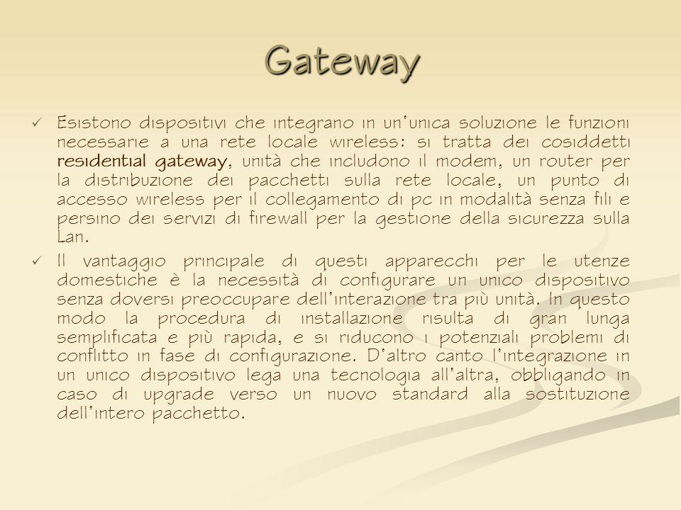 Gateway Esistono dispositivi che integrano in ununica soluzione le funzioni necessarie a una rete locale wireless: si tratta dei cosiddetti residentia