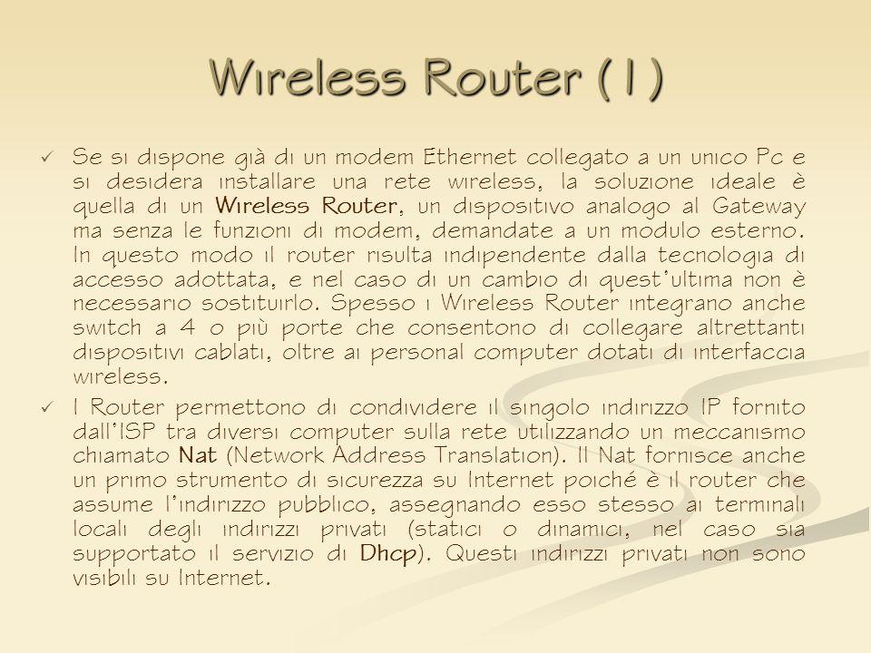Wireless Router (1) Se si dispone già di un modem Ethernet collegato a un unico Pc e si desidera installare una rete wireless, la soluzione ideale è q