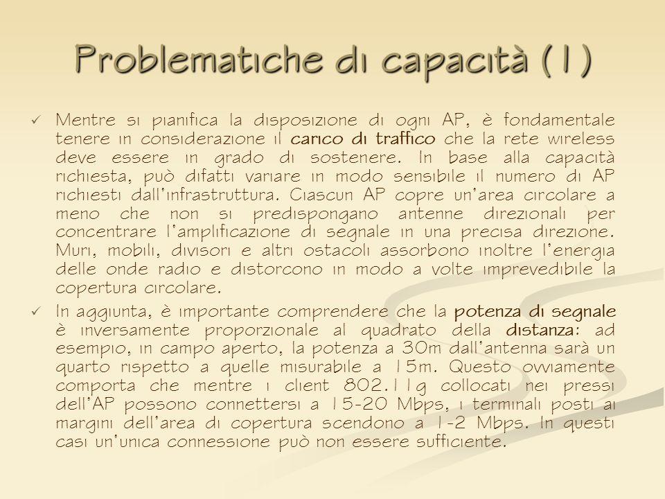 Problematiche di capacità (1) Mentre si pianifica la disposizione di ogni AP, è fondamentale tenere in considerazione il carico di traffico che la ret