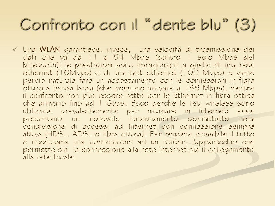 Confronto con il dente blu (3) Una WLAN garantisce, invece, una velocità di trasmissione dei dati che va da 11 a 54 Mbps (contro 1 solo Mbps del bluet