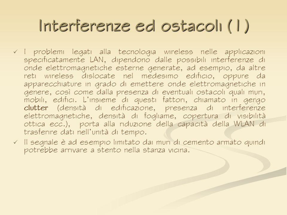 Interferenze ed ostacoli (1) I problemi legati alla tecnologia wireless nelle applicazioni specificatamente LAN, dipendono dalle possibili interferenz