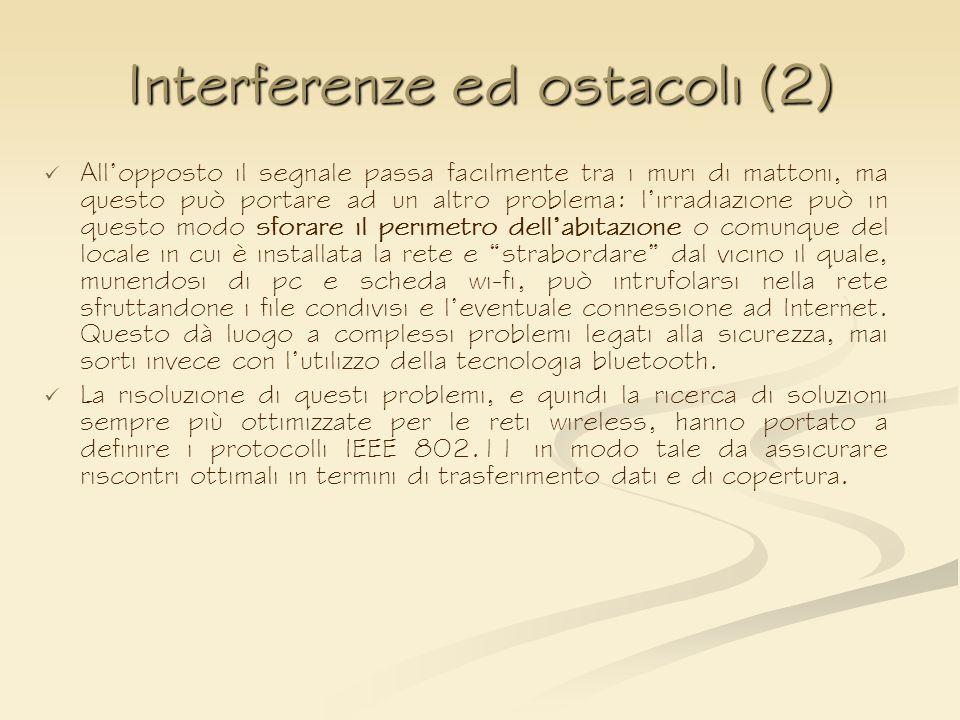 Interferenze ed ostacoli (2) Allopposto il segnale passa facilmente tra i muri di mattoni, ma questo può portare ad un altro problema: lirradiazione p