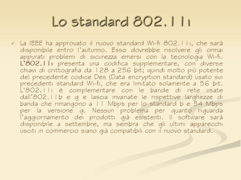 Lo standard 802.11i La IEEE ha approvato il nuovo standard Wi-fi 802.11i, che sarà disponibile entro lautunno. Esso dovrebbe risolvere gli ormai appur