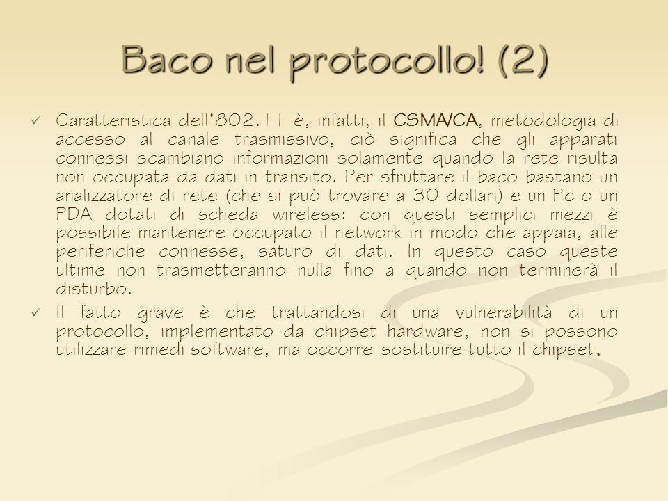 Baco nel protocollo! (2) Caratteristica dell802.11 è, infatti, il CSMA/CA, metodologia di accesso al canale trasmissivo, ciò significa che gli apparat