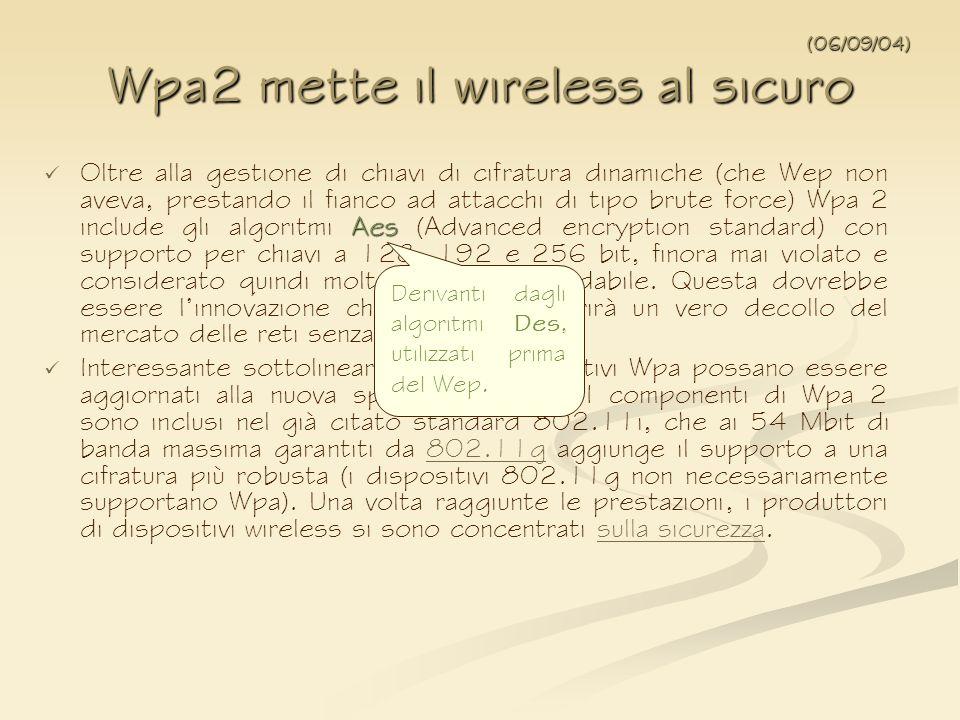 Aes Oltre alla gestione di chiavi di cifratura dinamiche (che Wep non aveva, prestando il fianco ad attacchi di tipo brute force) Wpa 2 include gli al