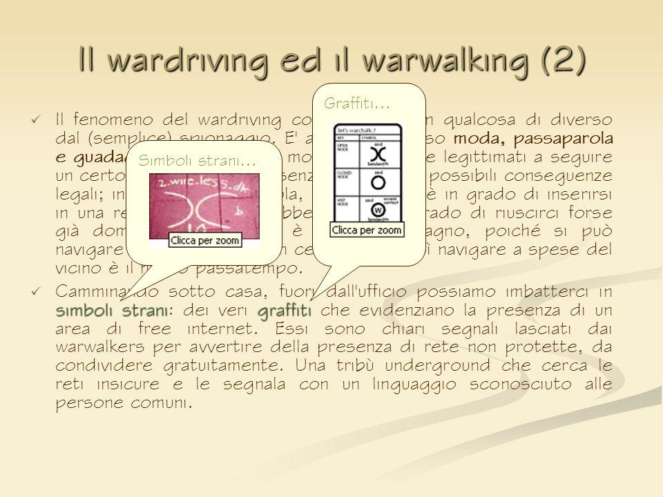 Il wardriving ed il warwalking (2) Il fenomeno del wardriving consiste però in qualcosa di diverso dal (semplice) spionaggio. E' al tempo stesso moda,