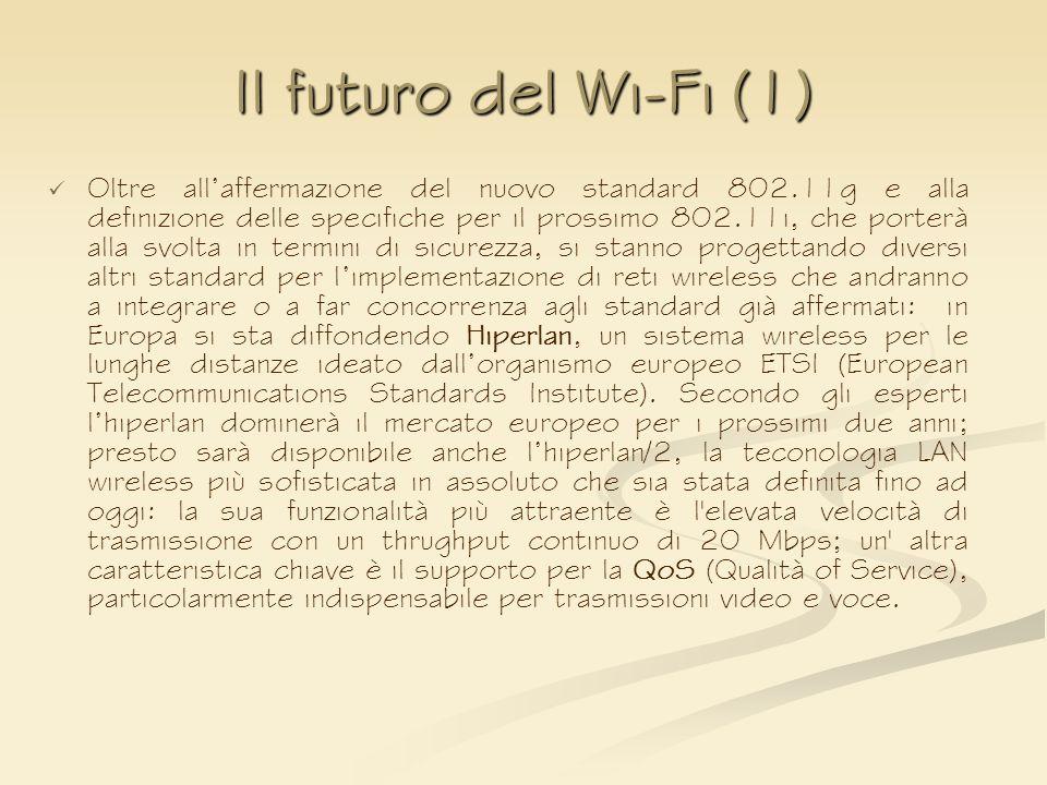 Il futuro del Wi-Fi (1) Oltre allaffermazione del nuovo standard 802.11g e alla definizione delle specifiche per il prossimo 802.11i, che porterà alla