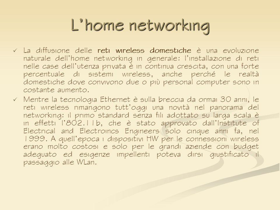 Lhome networking La diffusione delle reti wireless domestiche è una evoluzione naturale dellhome networking in generale: linstallazione di reti nelle