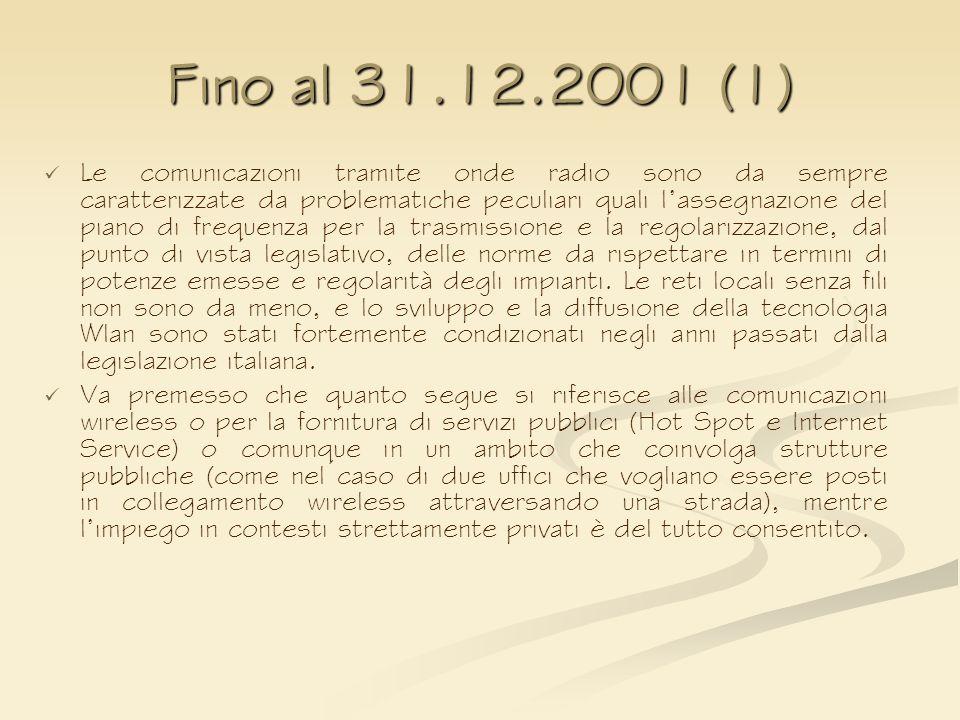 Fino al 31.12.2001 (1) Le comunicazioni tramite onde radio sono da sempre caratterizzate da problematiche peculiari quali lassegnazione del piano di f