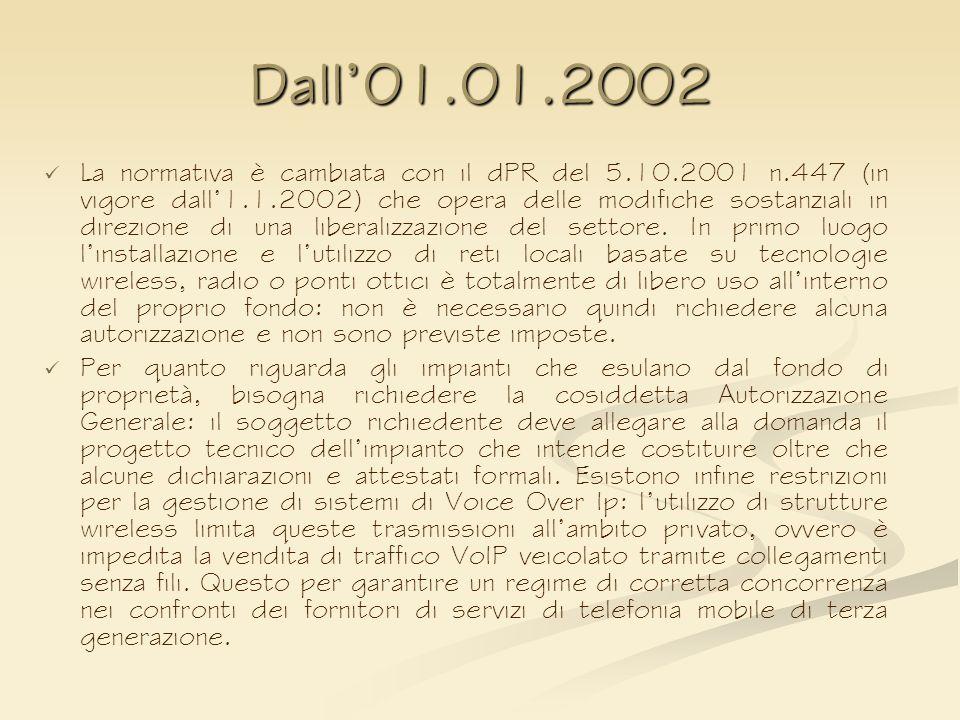 Dall01.01.2002 La normativa è cambiata con il dPR del 5.10.2001 n.447 (in vigore dall1.1.2002) che opera delle modifiche sostanziali in direzione di u