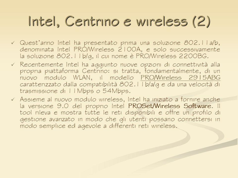 Intel, Centrino e wireless (2) Questanno Intel ha presentato prima una soluzione 802.11a/b, denominata Intel PRO/Wireless 2100A, e solo successivament