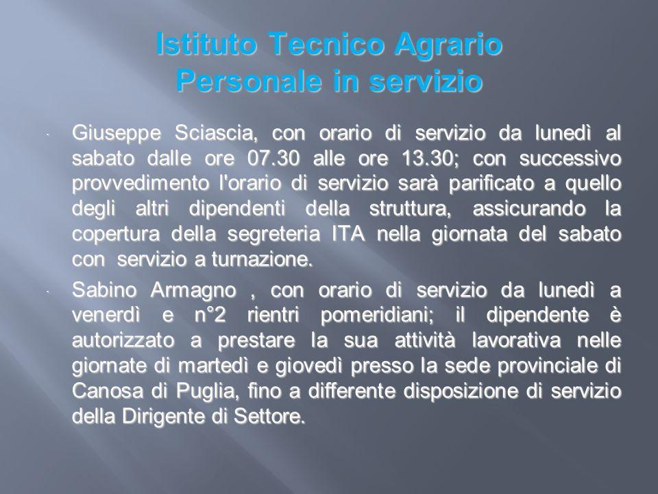 Istituto Tecnico Agrario Personale in servizio Giuseppe Sciascia, con orario di servizio da lunedì al sabato dalle ore 07.30 alle ore 13.30; con succe