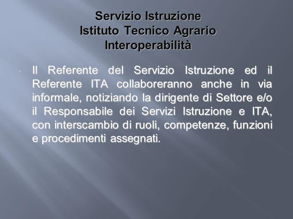 Servizio Istruzione Istituto Tecnico Agrario Interoperabilità Il Referente del Servizio Istruzione ed il Referente ITA collaboreranno anche in via inf