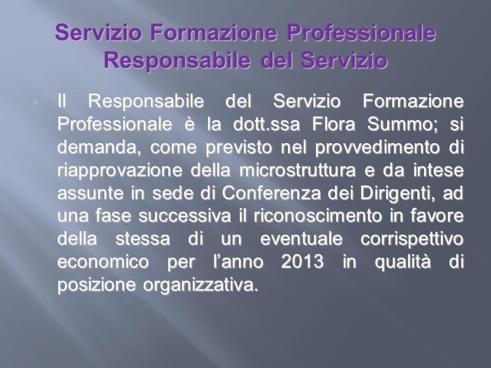 Servizio Formazione Professionale Responsabile del Servizio Il Responsabile del Servizio Formazione Professionale è la dott.ssa Flora Summo; si demand