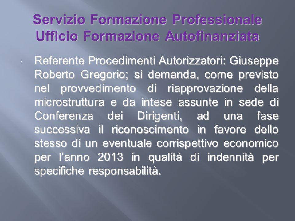 Servizio Formazione Professionale Ufficio Formazione Autofinanziata Referente Procedimenti Autorizzatori: Giuseppe Roberto Gregorio; si demanda, come
