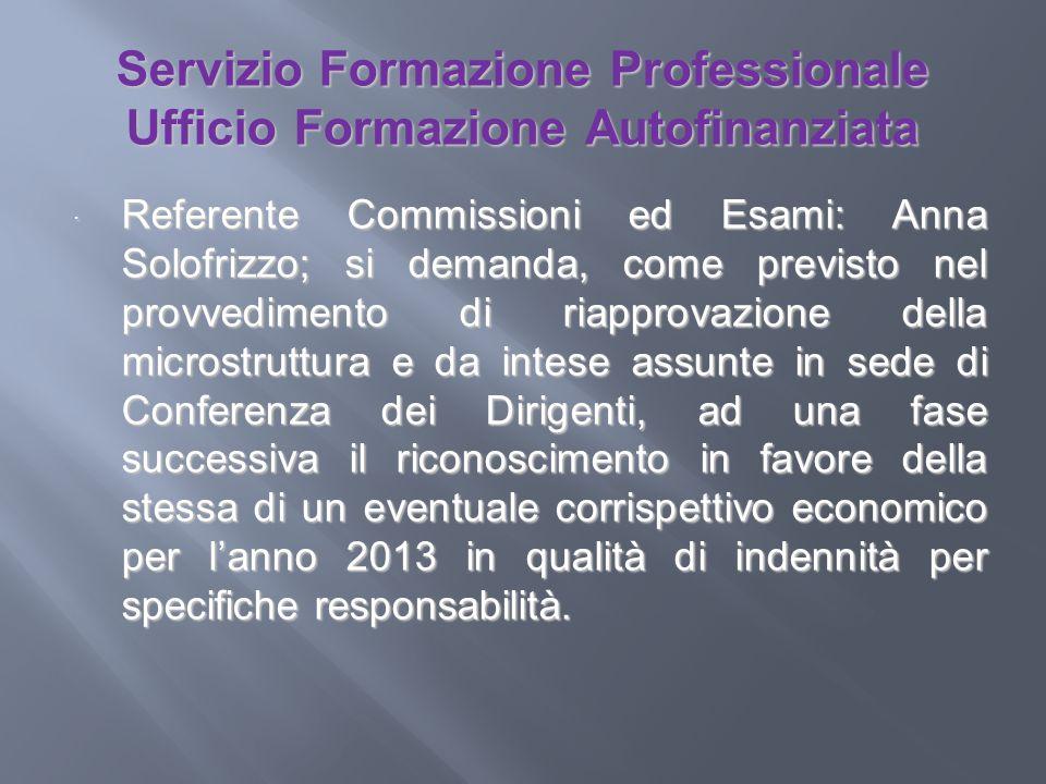 Servizio Formazione Professionale Ufficio Formazione Autofinanziata Referente Commissioni ed Esami: Anna Solofrizzo; si demanda, come previsto nel pro