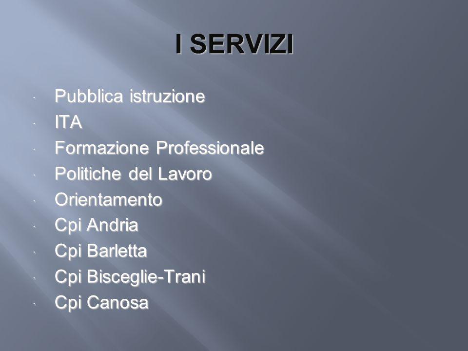 I SERVIZI Pubblica istruzione Pubblica istruzione ITA ITA Formazione Professionale Formazione Professionale Politiche del Lavoro Politiche del Lavoro
