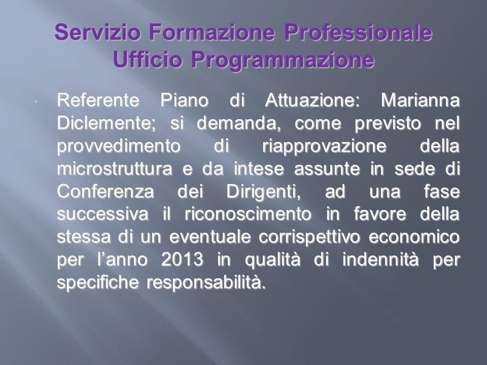 Servizio Formazione Professionale Ufficio Programmazione Referente Piano di Attuazione: Marianna Diclemente; si demanda, come previsto nel provvedimen