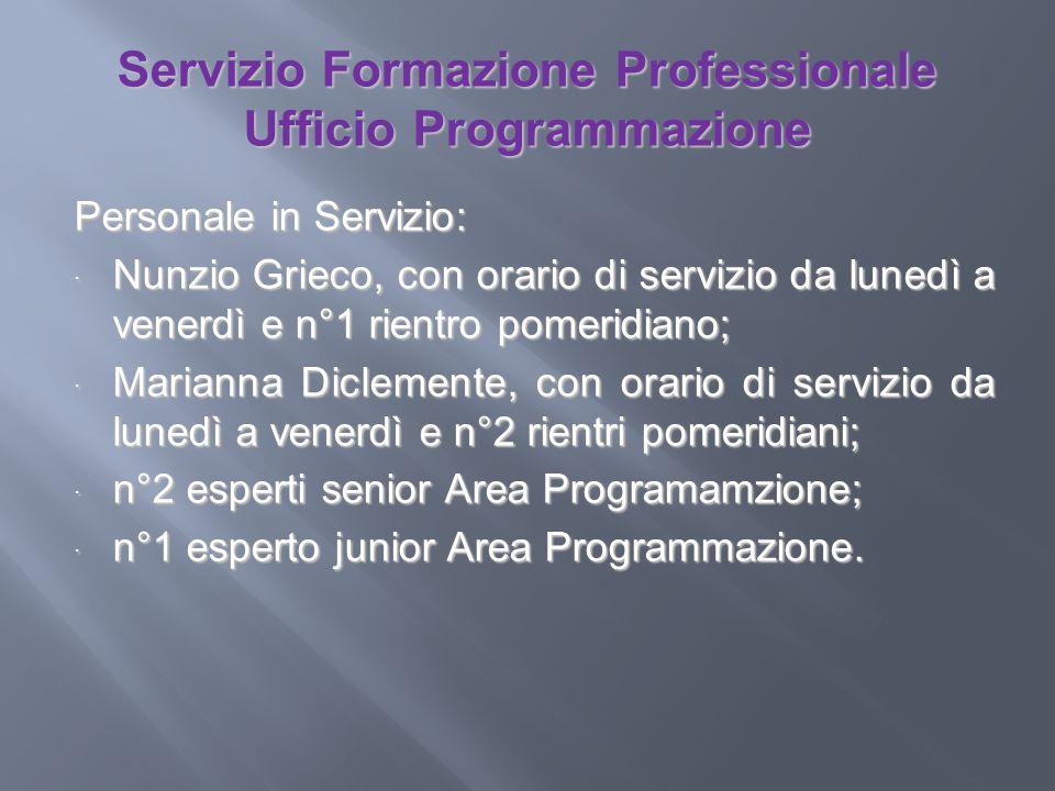 Servizio Formazione Professionale Ufficio Programmazione Personale in Servizio: Nunzio Grieco, con orario di servizio da lunedì a venerdì e n°1 rientr