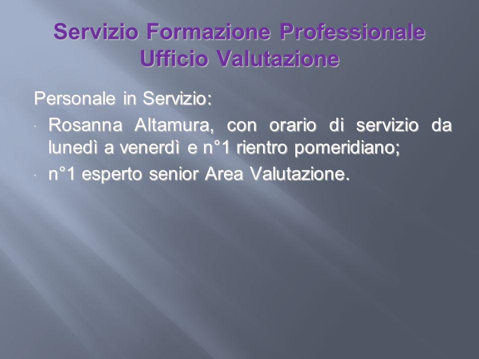 Servizio Formazione Professionale Ufficio Valutazione Personale in Servizio: Rosanna Altamura, con orario di servizio da lunedì a venerdì e n°1 rientr
