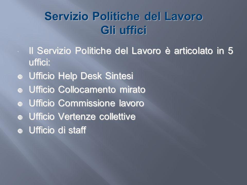 Servizio Politiche del Lavoro Gli uffici Il Servizio Politiche del Lavoro è articolato in 5 uffici: Il Servizio Politiche del Lavoro è articolato in 5