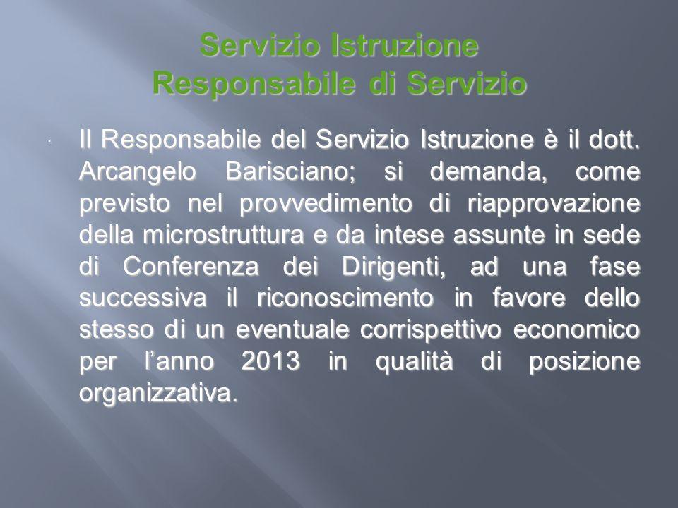 Servizio Istruzione Responsabile di Servizio Il Responsabile del Servizio Istruzione è il dott. Arcangelo Barisciano; si demanda, come previsto nel pr
