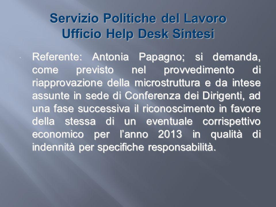 Servizio Politiche del Lavoro Ufficio Help Desk Sintesi Referente: Antonia Papagno; si demanda, come previsto nel provvedimento di riapprovazione dell