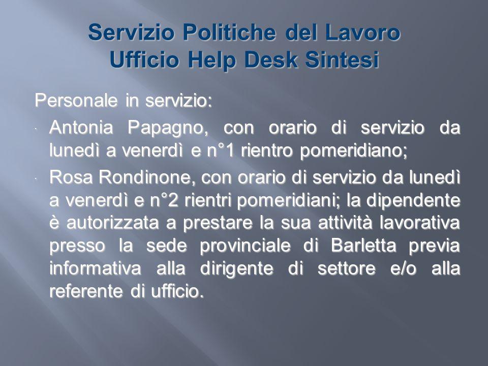Servizio Politiche del Lavoro Ufficio Help Desk Sintesi Personale in servizio: Antonia Papagno, con orario di servizio da lunedì a venerdì e n°1 rient